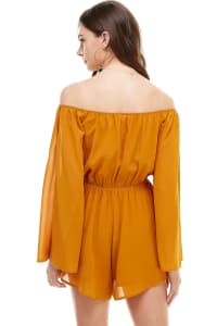 Opened Sleeves Flowy Romper - Mustard - Back