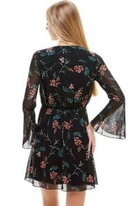 Chiffon Surplice Long Sleeve Dress - Back