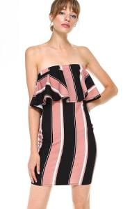 Bold Stripe Flounce Tube Dress - Mauve - Back
