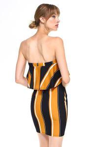 Bold Stripe Flounce Tube Dress - Mustard - Back