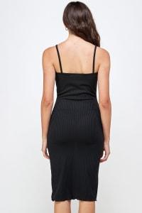 Rib Jersey Slit Front Fitted Tank Dress - Black - Back