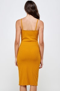 Rib Jersey Slit Front Fitted Tank Dress - Mustard - Back