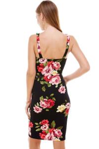 Floral Plunge Neck Fitted Dress - Black - Back