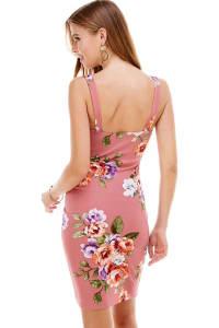 Floral Plunge Neck Fitted Dress - Mauve - Back