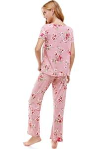 Women's Loungewear Set Floral Printed Pajama Short Sleeve And Pants Set - Back