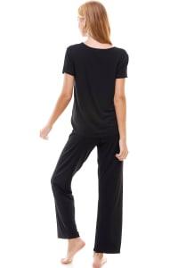 Women's Loungewear Set Solid Pajama Short Sleeve And Pants Set - Back