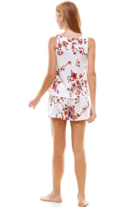 Floral Printed Sleeveless Top And Short Loungewear Set - Back