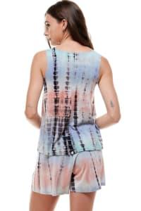 Loungewear Set For Women's Tie Dye Pajama - Back