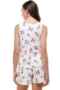Loungewear Set Floral Print Pajama - White - Back