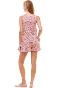 Ditsy Printed Sleeveless Top And Short Loungewear Set - Back