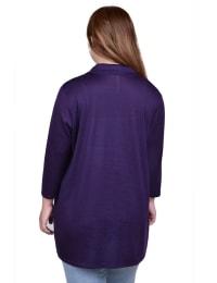 Elbow Sleeve Wide Lapel Cardigan - Plus - Back