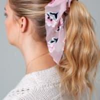 Floral Burnout Velvet Scarf Pony - Dust Pink - Back