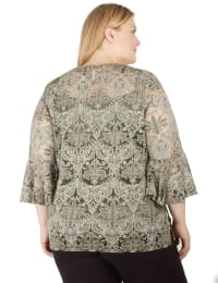 Lace Bell-Sleeve Tunic - Plus - Back