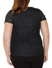 Short Sleeve Round Neck Lace Pullover - Plus - Black - Back