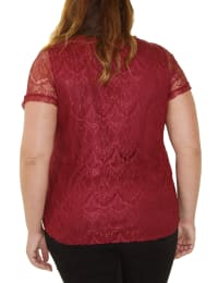 Short Sleeve Round Neck Lace Pullover - Plus - Burgundy - Back