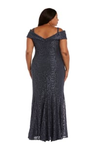 Off the Shoulder Glitter Lace Gown Godet Pleats at Hem - Plus - steel - Back