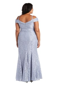 Off the Shoulder Glitter Lace Gown Godet Pleats at Hem - Plus - Chambray - Back