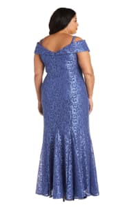 Off the Shoulder Glitter Lace Gown Godet Pleats at Hem - Plus - Periwinkle - Back