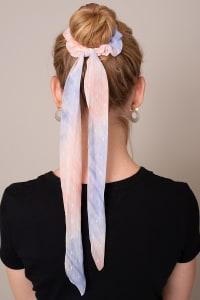Tie Dye Ponytail Scarf Scrunchy - Orange - Back