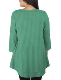 3/4 Sleeve Ribbed Top With 3 Ring Detail - Petite - Fresh Emerald - Back