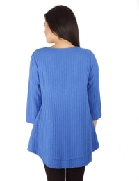 3/4 Sleeve Ribbed Top With 3 Ring Detail - Petite - Princess Blue - Back