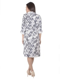 3/4 Belted Rolled Tab Sleeve Shirtdress With Patch Pockets - Petite - Ivory Acutelines - Back