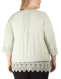 3/4 Sleeve Cardigan With Crochet Detail - Plus - Back
