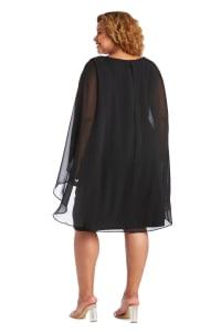 Chiffon Duster Cape Surplice Wrap Dress - Plus - Back