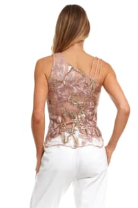Embroidered Floral Strappy Top - Back