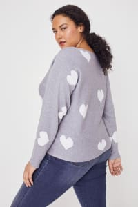 Westport I Wear My Heart on My Sleeve Sweater - Plus - Grey/White - Back