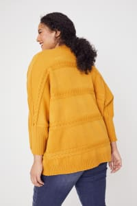Westport Cocoon Cardigan Sweater - Plus - Golden Yellow - Back