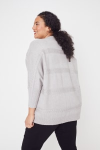 Westport Cocoon Cardigan Sweater - Plus - Heather Grey - Back