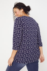 Roz & Ali Navy Dot Diamond Pintuck Popover - Plus - Navy-Tan - Back