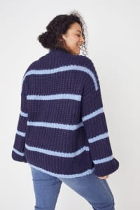 Westport Cozy Stripe Pullover Sweater - Plus - Navy - Back