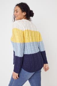 Westport Colorblock Curved Hem Sweater - Plus - Navy Multi - Back