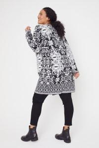 Roz & Ali Scroll Coatigan Sweater - Plus - Back