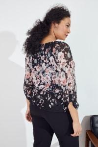 Roz & Ali Floral Border Bubble Hem Top - Plus - Black/Blush/Mint - Back