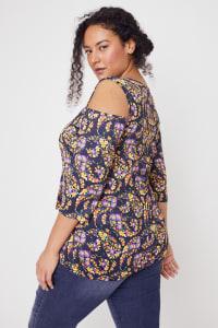 Roz & Ali Floral Paisley Cold Shoulder Knit Top - Plus - Back