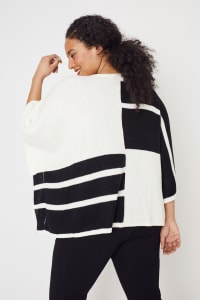 Roz & Ali Colorblock Open Front Sweater Poncho - Plus - Black/Cream - Back