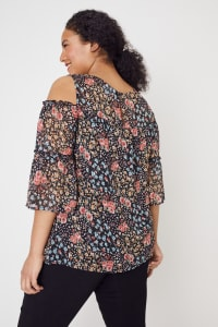 Westport Lace Trim Floral Cold Shoulder Blouse - Plus - Black Multi - Back