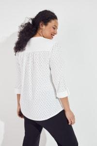Roz & Ali Eyelet Knit Pintuck Popover - Plus - Back