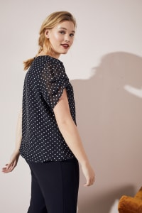 Roz & Ali Dot Bubble Hem Blouse - Black/White - Back