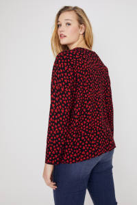 You Have My Heart Button-Up Cardigan Sweater - Plus - Red/Black - Back