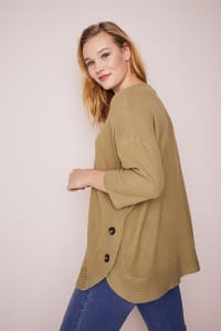 Westport Curved Hem Tunic Sweater  - Plus - Olive - Back