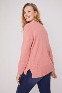 Roz & Ali Crochet Tunic Sweater - Plus - Coral - Back