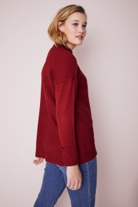 Westport Mixed Stitch Pullover Sweater - Plus - Brick Red - Back