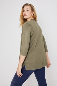 Roz & Ali 3/4 Sleeve Scallop Trim Cardigan - Plus - Antique Olive - Back