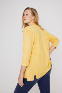Roz & Ali 3/4 Sleeve Scallop Trim Cardigan - Plus - Corn Silk - Back