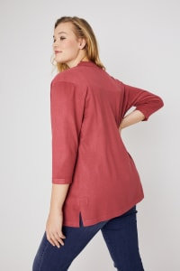 Roz & Ali 3/4 Sleeve Scallop Trim Cardigan - Plus - Earth Red - Back