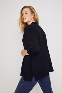 Roz & Ali Scallop Trim Cardigan - Plus - Pitch Black - Back